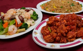 (left) #64a Castle's Special Chow Mein (top) #77 Mixed Vegetable Fried Rice (bottom) #50 Sweet & Sour Boneless Pork