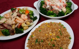 (left) #64a Castle's Special Chow Mein (top) #63 Broccoli & Mushroom with Crab Meat Sauce (bottom) #77 Mixed Vegetable Fried Rice